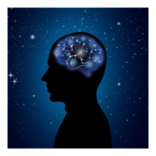 Human Brain Cool Illustration Poster
