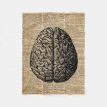Human Brain Vintage Illustration Dictionary Art Fleece Blanket