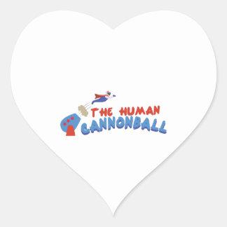 Human Cannonball Heart Sticker
