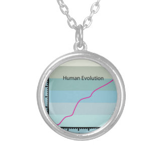 Human Evolution Graph vector Round Pendant Necklace