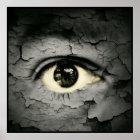 Human eye serrounded by Peeling skin Poster