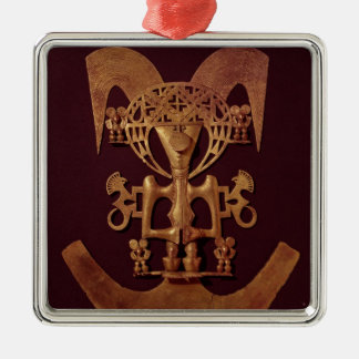 Human Figure Pendant with Headdress Silver-Colored Square Decoration
