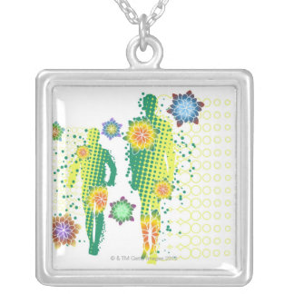 Human Figure Silver Plated Necklace