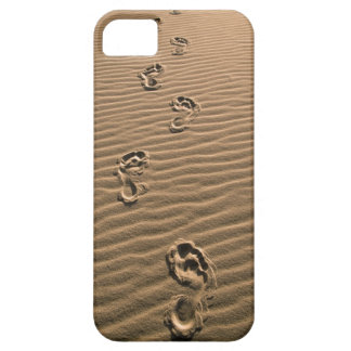 Human footprints on sandy beach iPhone 5 covers