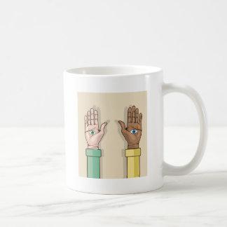 Human hands with eyes Vector Basic White Mug