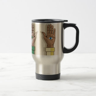 Human hands with eyes Vector Stainless Steel Travel Mug