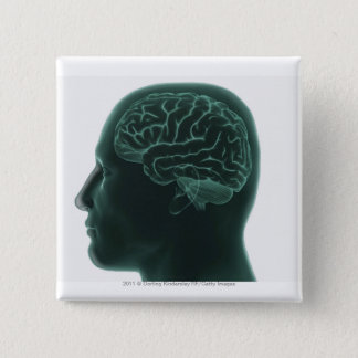 Human head in profile showing the brain 15 cm square badge