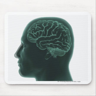 Human head in profile showing the brain mouse mat