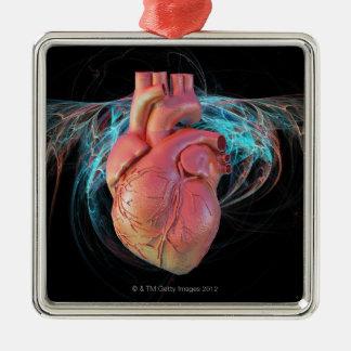 Human heart, computer artwork. Silver-Colored square decoration