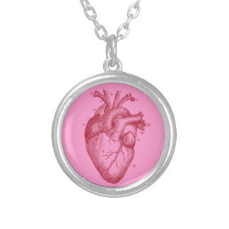 Human heart - love - anatomy round pendant necklace