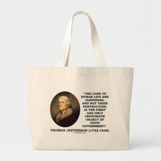 Human Life Happiness Object Of Good Government Jumbo Tote Bag
