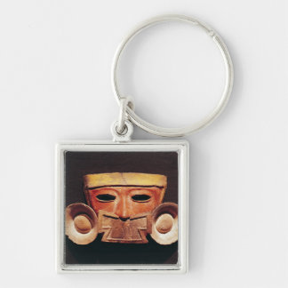 Human mask, from Teotihuacan Silver-Colored Square Key Ring