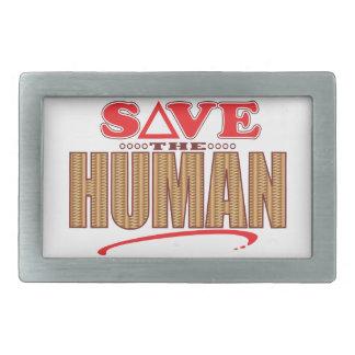 Human Save Rectangular Belt Buckle