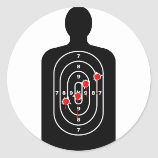Human Shape Target With Bullet Holes Classic Round Sticker