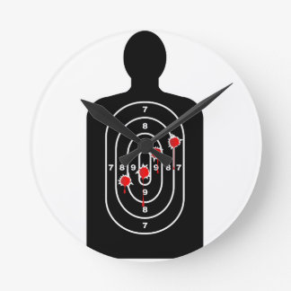 Human Shape Target With Bullet Holes Round Clock