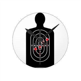 Human Shape Target With Bullet Holes Wallclock