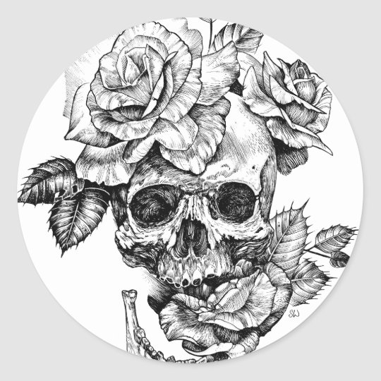 Human skull and roses black ink drawing classic