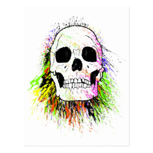 Human Skull Colourful Halloween Postcard