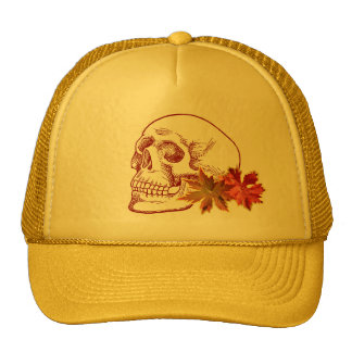 Human Skull Drawing in Autumn Colors Cap