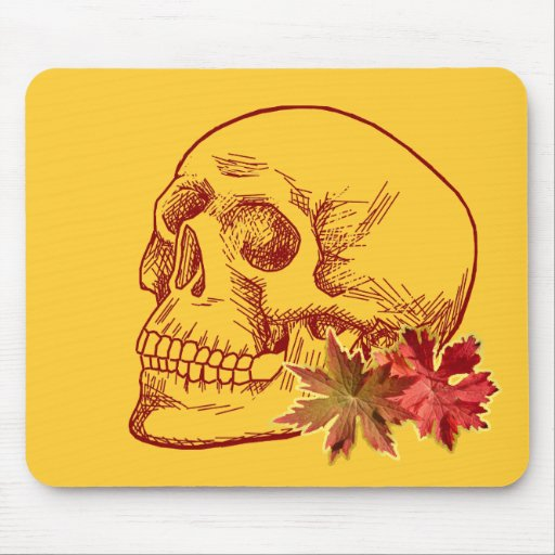 Human Skull Drawing in Autumn Colors Mouse Pads