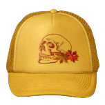 Human Skull Drawing in Autumn Colours Cap