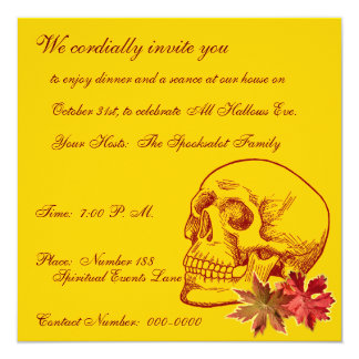 Human Skull Drawing With Autmn Leaves 13 Cm X 13 Cm Square Invitation Card