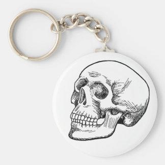 Human Skull Etching Keychain