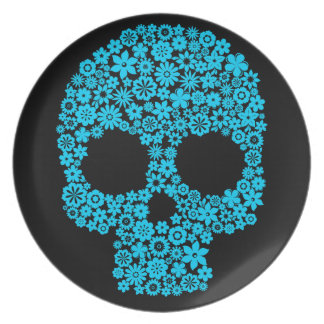 Human Skull With Flower Elements Plate