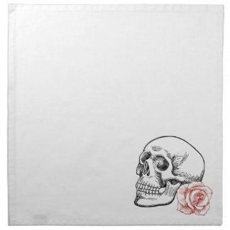 Human Skull With Red Rose Line Drawing Cloth Napkin