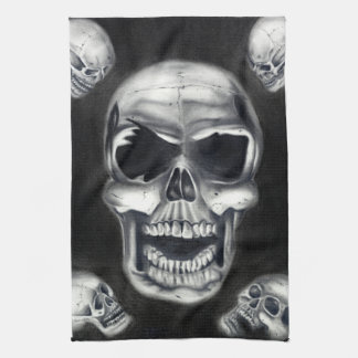 Human Skulls Black Kitchen Towel