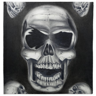 Human Skulls Black Napkin