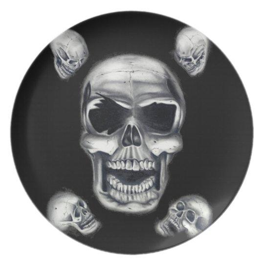 Human Skulls Black Plate