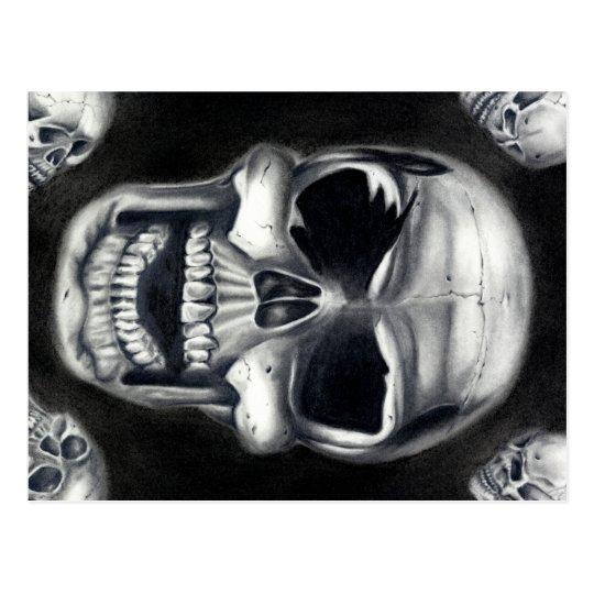Human Skulls Black Postcard