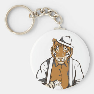 human tiger with playing cards basic round button key ring