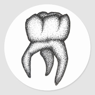 Human Tooth Dotwork Classic Round Sticker