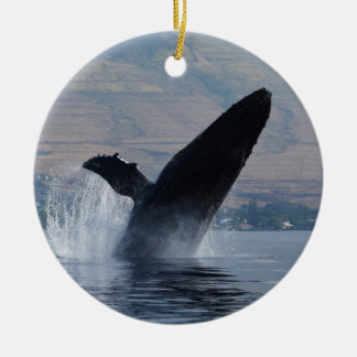 humback whale breaching christmas ornament