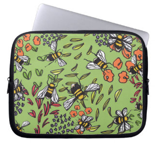 Humble Bumblebees Flowerbed Laptop Sleeve