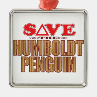Humboldt Penguin Save Silver-Colored Square Decoration