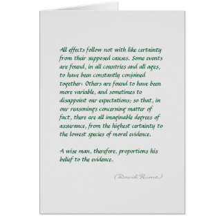 Hume strength of evidence quote (long) greeting card