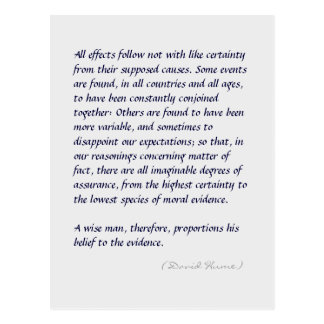 Hume strength of evidence quote long postcard