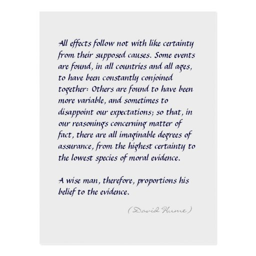 Hume strength of evidence quote (long) postcard