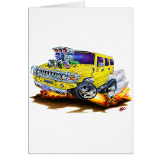 Hummer H2 Yellow Truck Greeting Cards