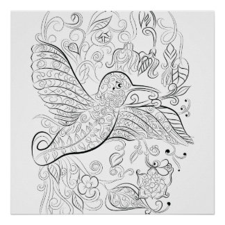 Humming bird design: Colouring poster