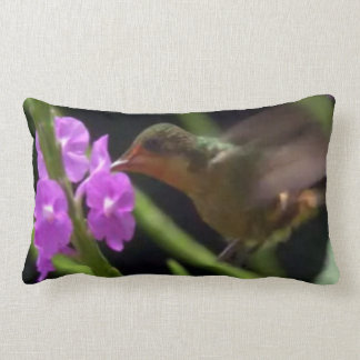 Humming Bird over pink flower cute hummingbirds 99 Throw Pillows