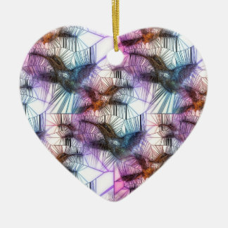 Humming Bird Stained Glass Ceramic Heart Decoration