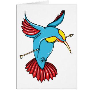Humming Bird ~ Vintage Forties Tattoo Bird Art Stationery Note Card