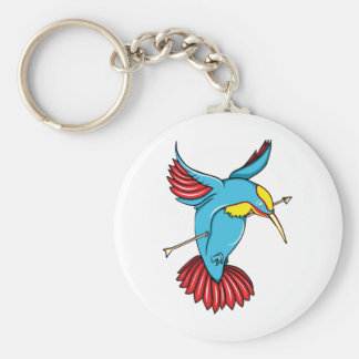 Humming Bird ~ Vintage Forties Tattoo Bird Art Key Chains