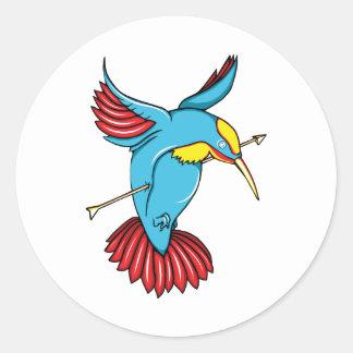 Humming Bird ~ Vintage Forties Tattoo Bird Art Classic Round Sticker