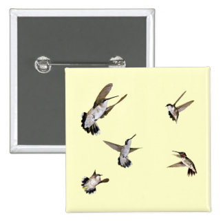 Humming Birds 15 Cm Square Badge