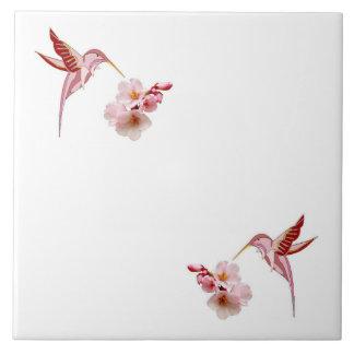 Humming Birds & Cherry Blossoms Trivet Large Square Tile